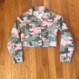 NWT girls pink camouflage denim jacket